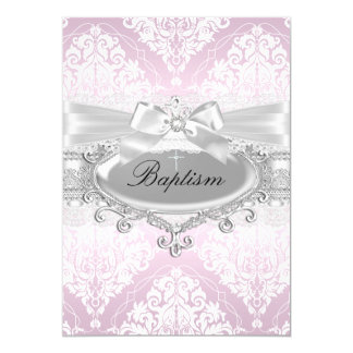 Nätt rosa damast- & pilbågedopinbjudan 12,7 x 17,8 cm inbjudningskort