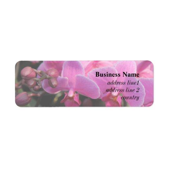 nätt rosa orchidblommor returadress etikett