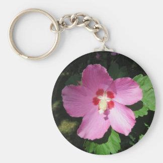 Nätt rosa ros av den Sharon blomman Rund Nyckelring
