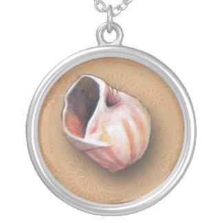 Nätt rosa snäckskal från stranden silverpläterat halsband