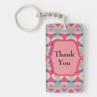 Nätt rosamönster för tack nyckelring