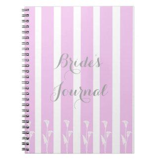 Nätt rosor görad randig journal för anteckningsbok med spiral