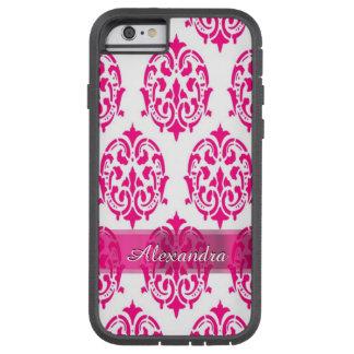 Nätt shock rosa- och vitdamast för personlig tough xtreme iPhone 6 skal