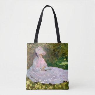 Nätt tryck för Claude Monet Springtimeavläsare Tygkasse