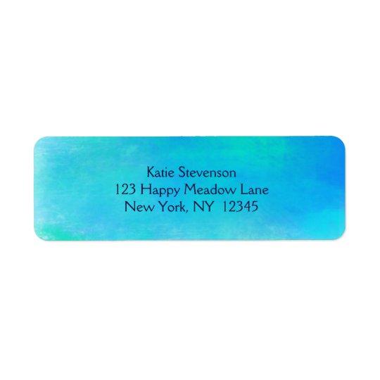 Nätt vattenfärgabstrakt i Aquagrönt och blått Returadress Etikett