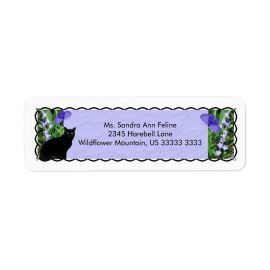 Nätt vildblommar och kattreturetiketter returadress etikett