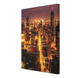 Nattcityscape av Chicago Canvastryck