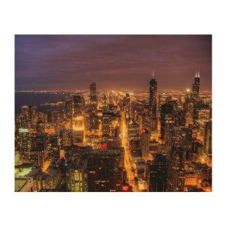 Nattcityscape av Chicago Trätavla