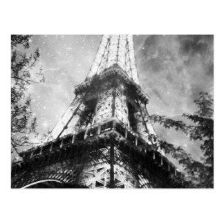 NattEiffel torn som är svartvitt Vykort