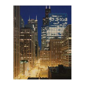 Natten beskådar av cityscape av Chicago Trätavla