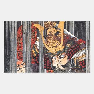 Natten regnar på Narumi av Utagawa Kuniyoshi Rektangulärt Klistermärke