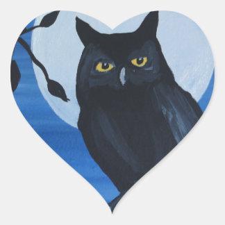 Nattuggla Hjärtformat Klistermärke