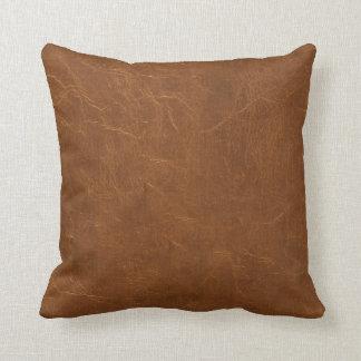 Naturlig brun läderlook kudde
