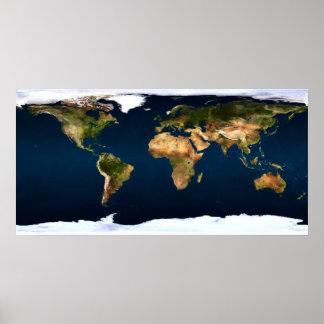 Naturliga färger för världskarta fullt ut, genom a poster