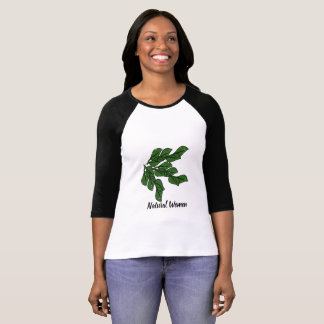 Naturliga kvinnor med grönt blad planlägger på t shirt