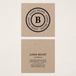 Naturligt lantligt Minimalist MonogramKraft papper Fyrkantigt Visitkort