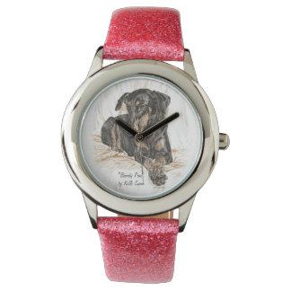 Naturligt öron för Dobermanhund Armbandsur