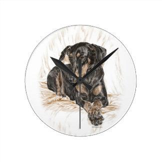 Naturligt öron för Dobermanhund Rund Klocka