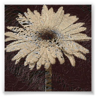 Naturligt tonar bruntet daisytrycket som wallhangi