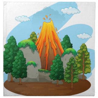 Naturplats med vulkanutbrott tygservett