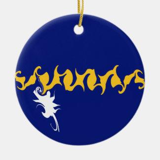Nauru Gnarly flagga Rund Julgransprydnad I Keramik