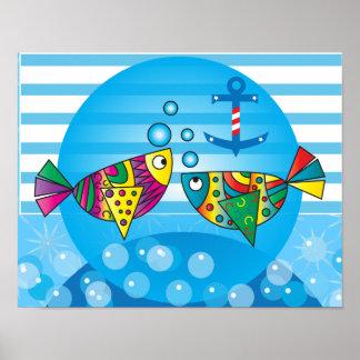Nautisk abstrakt färgrik fiskdesign poster