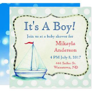 Nautisk baby shower för gullig blåttsegelbåt fyrkantigt 13,3 cm inbjudningskort