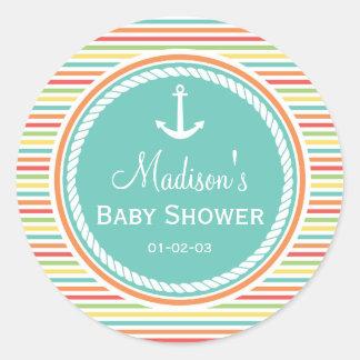 Nautisk baby shower, ljusa regnbågerandar runt klistermärke