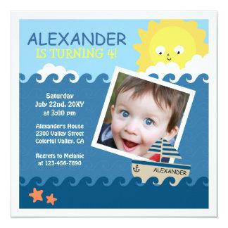 Nautisk beställnings- inbjudan för fotobarns fyrkantigt 13,3 cm inbjudningskort