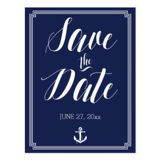 Nautisk bröllop spara datumvykortram vykort