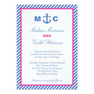Nautisk bröllopinbjudan 12,7 x 17,8 cm inbjudningskort