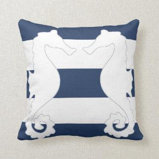 Nautisk dekorativ kudde för rand för havshästblått
