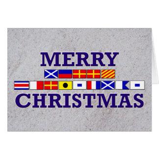 Nautisk flagga - sandig julkort hälsningskort
