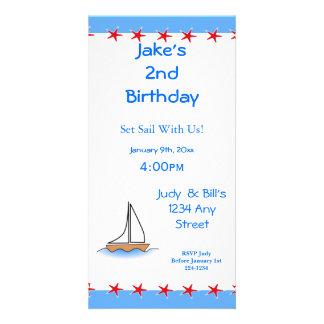 Nautisk födelsedag för Litte segelbåt Fotokort