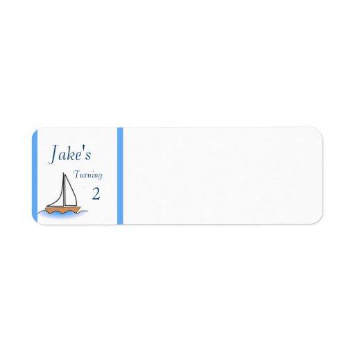 Nautisk födelsedag för Litte segelbåt Returadress Etikett