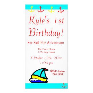 Nautisk födelsedag för segelbåt fotokort mall
