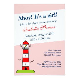 Nautisk fyr för baby showerinbjudningar   12,7 x 17,8 cm inbjudningskort