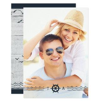 Nautisk fyr för FOTOBRÖLLOPINBJUDAN   12,7 X 17,8 Cm Inbjudningskort