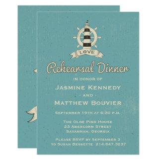Nautisk fyr för repetition middagblåttkricka 12,7 x 17,8 cm inbjudningskort