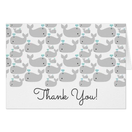 Nautisk grå valbaby showertackkort OBS kort