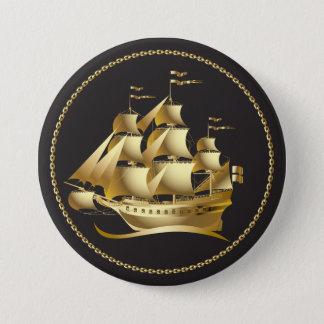 Nautisk guld- segelbåt mellanstor knapp rund 7.6 cm