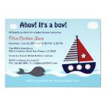 Nautisk inbjudan för segelbåtpojkebaby shower