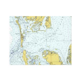 Nautisk karta för Charlotte hamnFlorida vintage Canvastryck