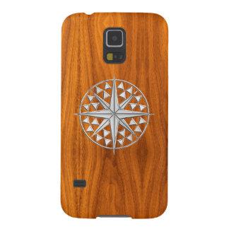 Nautisk kompass för krom på Teakfanértryck Galaxy S5 Fodral