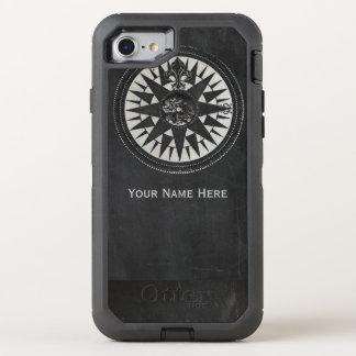 Nautisk kompass på den svart svart tavlan OtterBox defender iPhone 7 skal