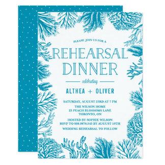 Nautisk repetition middag för ljus blåttkorallram 12,7 x 17,8 cm inbjudningskort