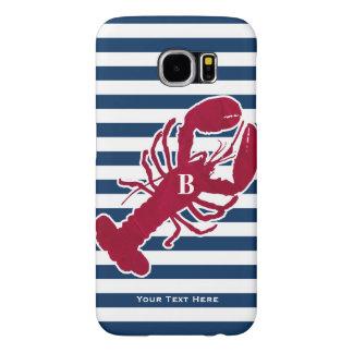 Nautisk röd rand för vit för hummerMonogramblått Galaxy S5 Fodral