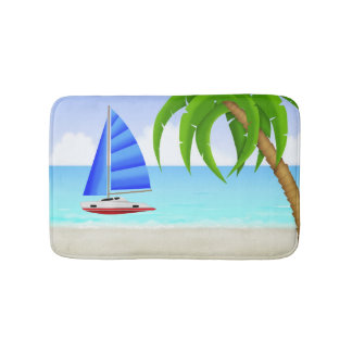 Nautisk segelbåt för tropisk strand badrumsmatta
