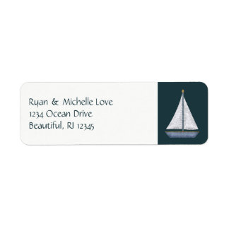 Nautisk segelbåtblått- och vitadress returadress etikett
