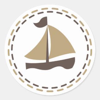 Nautisk segelbåtbrunt och solbränna - sjöman, hav runt klistermärke